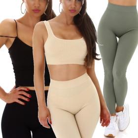 Jela London Damen Fitness Träger-Top Crop-Top...