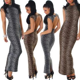 Jela London Damen Maxikleid Leopard Schlauchkleid...