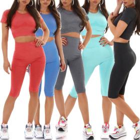 Jela London Damen Fitness-Set Zweiteiler Kurzarm T-Shirt...