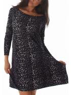 Voyelles Damen Leoparden-Shirt Langarm Oversize-Pullover dünn Schwarz Wildkatze