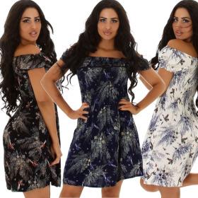 Jela London Damen Carmen-Kleid trägerlos Gesmokt...