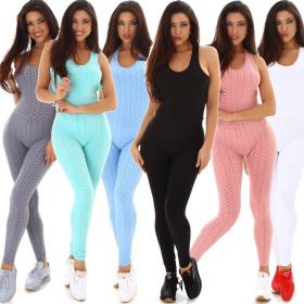 Jela London Damen High-Waist Fitness Einteiler Latzhose...