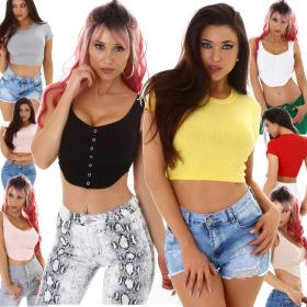 Jela London Damen Crop-Top bauchfrei T-Shirt Stretch...