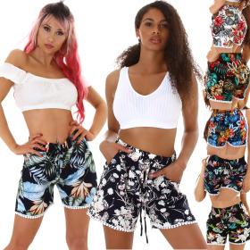 Jela London Damen High-Waist Sommer-Shorts Blumen Hotpants
